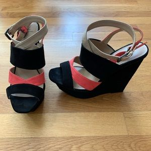 Zara coral color-block strappy wedge platform, 38